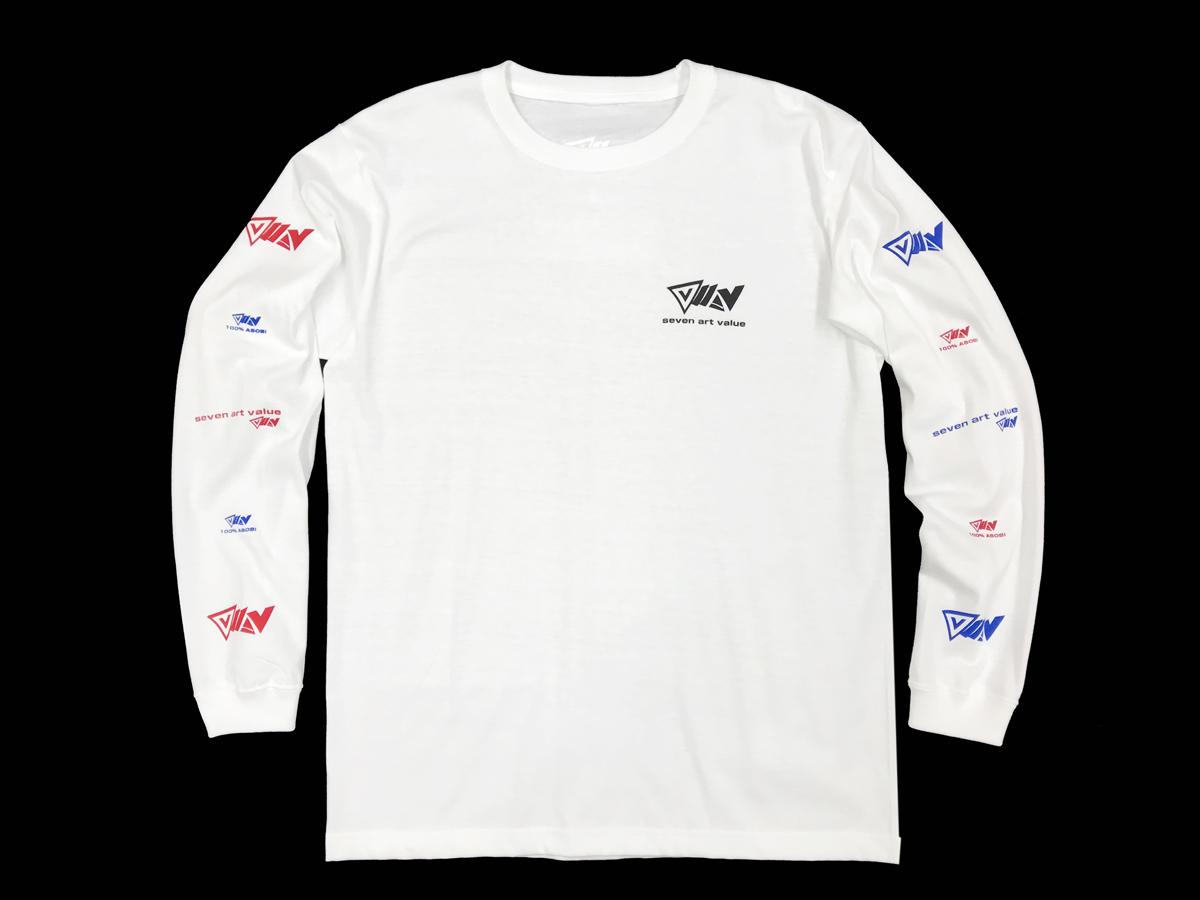 """【Seven Art Value】""""100% ASOBI"""" logo long sleeve T shirt / color: WHITE"""