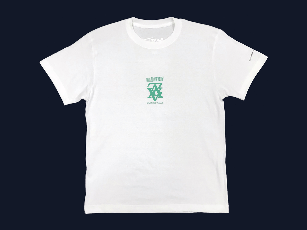 "【Seven Art Value】""chain logo"" T shirt / color: white×apple green"