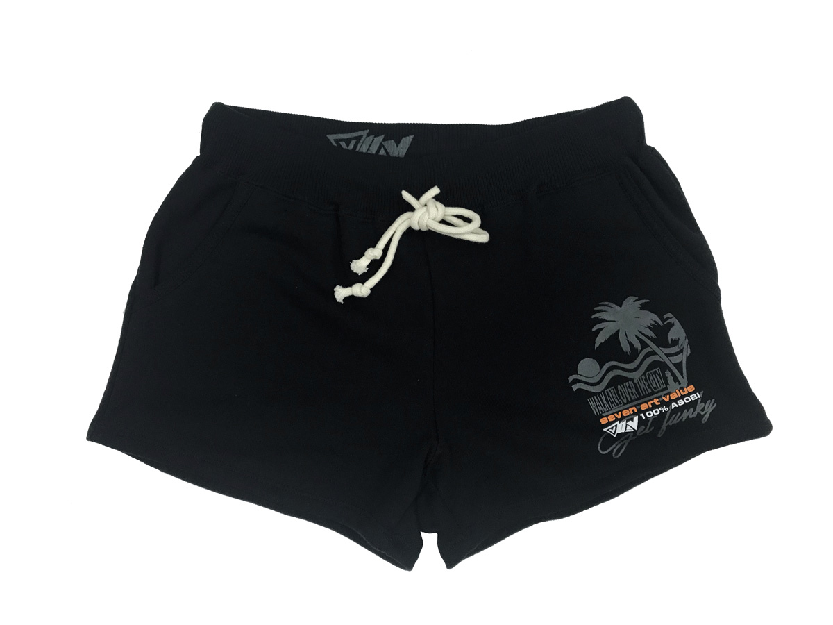 "【Seven Art Value】for ladys sweat shorts  // ""SUNSET""/ color: black"