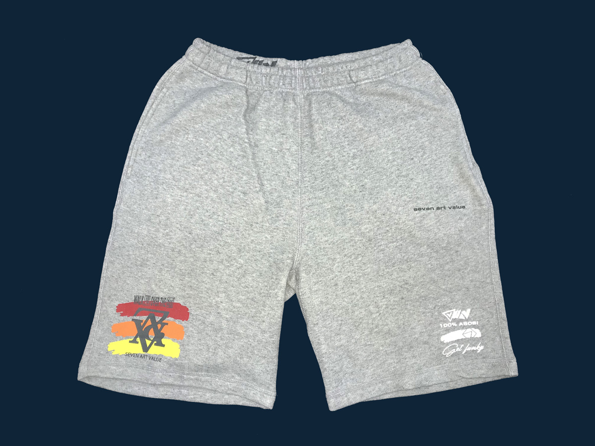 "【Seven Art Value】sweat shorts  // ""chain logo""/ color: gray×sun"