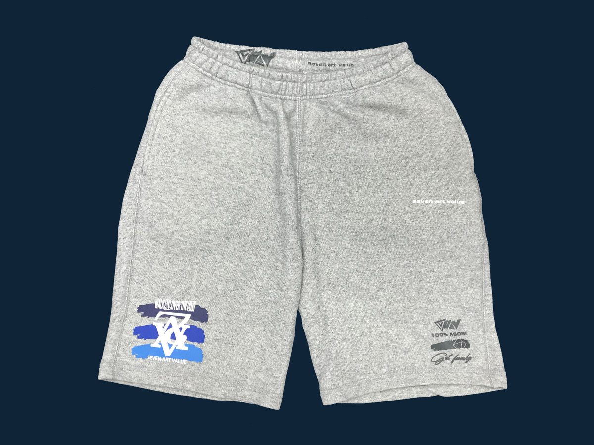 "【Seven Art Value】sweat shorts  // ""chain logo""/ color: gray×sea"